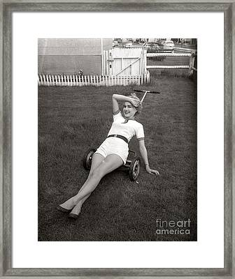 Woman Lounging On Lawnmower, C.1950s Framed Print