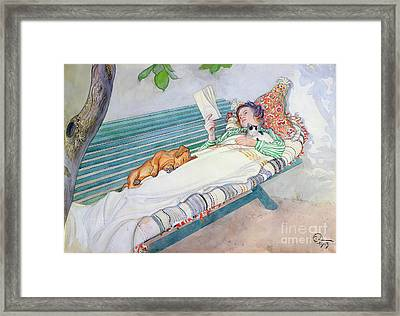 Woman Lying On A Bench Framed Print by Carl Larsson