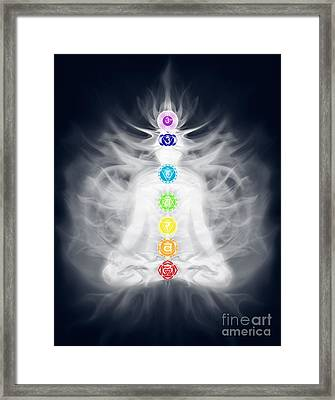 Woman Meditating In Lotus Pose Silhouette With Chakras And Energ Framed Print