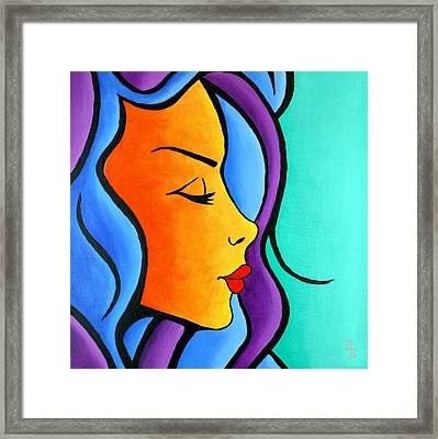 Framed Print featuring the painting Woman Of Color, Eyes Closed by Bob Baker