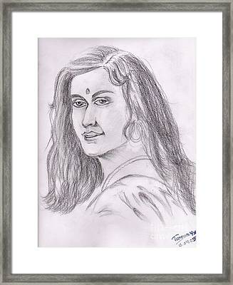 Woman Of India Framed Print by Tanmay Singh