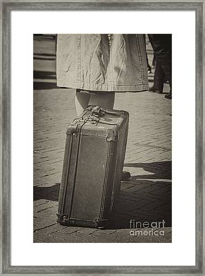 Woman Of The 1940's Waiting With Suitcase Framed Print