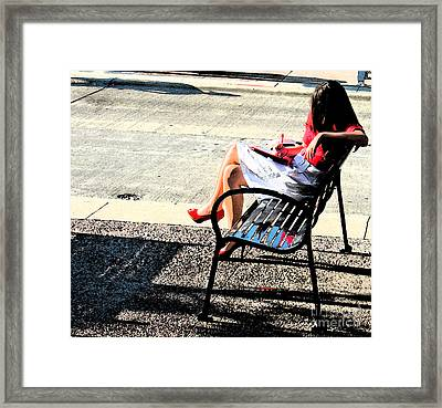 Woman On A Bench Framed Print by Gary Everson