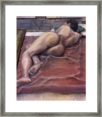 Woman On Blanket Framed Print by John Clum