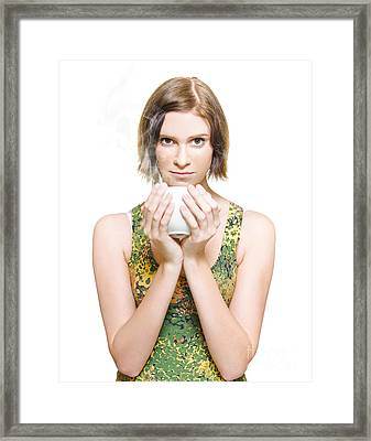 Woman On Coffee Break Framed Print by Jorgo Photography - Wall Art Gallery