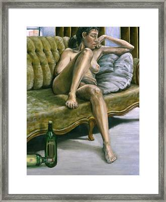 Woman On Green Sofa Framed Print by John Clum