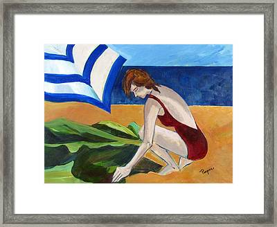 Woman On The Beach Framed Print by Betty Pieper