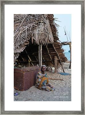 Woman On The Beach Chennai India Framed Print