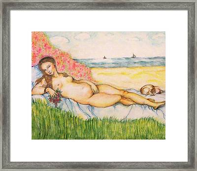 Woman On The Beach Framed Print by Hye Ja Billie