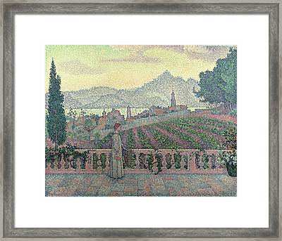 Woman On The Terrace Framed Print