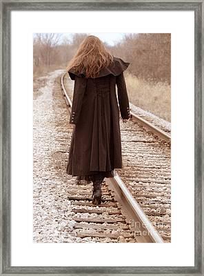Woman On Tracks Framed Print by Jill Battaglia