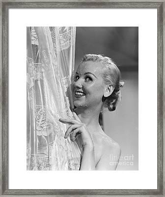 Woman Peeking Out Of Shower, C.1950s Framed Print by Debrocke ClassicStock
