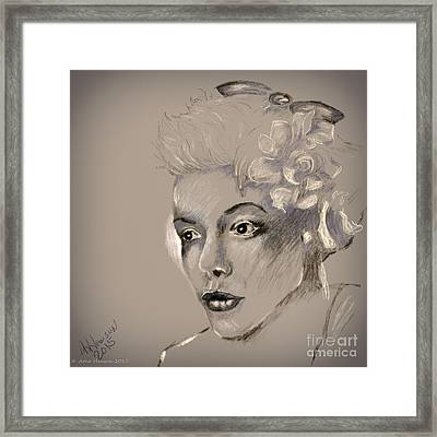 Woman Pencil Study 33 Framed Print by Arne Hansen