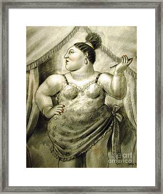 woman performer Botero Framed Print