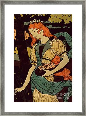 Woman Picking Flowers, 1917 Framed Print