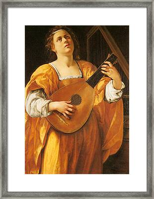 Woman Playing A Lute Framed Print