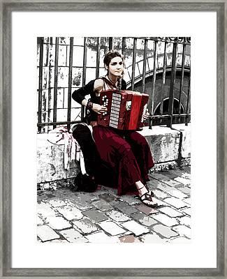 Woman Playing Accordion Framed Print