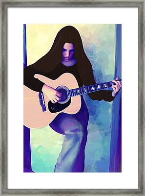Woman Playing Guitar Framed Print