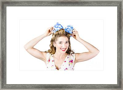 Woman Playing With Hair Tie. Retro Accessories Framed Print by Jorgo Photography - Wall Art Gallery