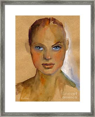 Woman Portrait Sketch Framed Print by Svetlana Novikova