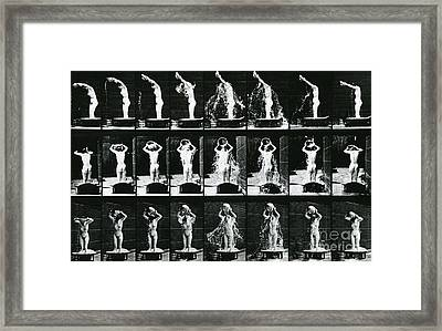 Woman Pouring A Basin Of Water Over Her Head Framed Print