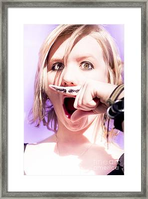 Woman Pretending Mustache Framed Print