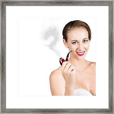 Woman Problem Solving With Pipe Framed Print by Jorgo Photography - Wall Art Gallery