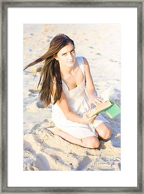 Woman Reading Book Framed Print