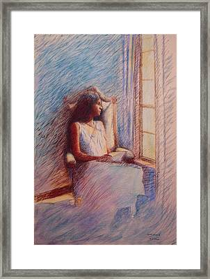 Woman Reading By Window Framed Print