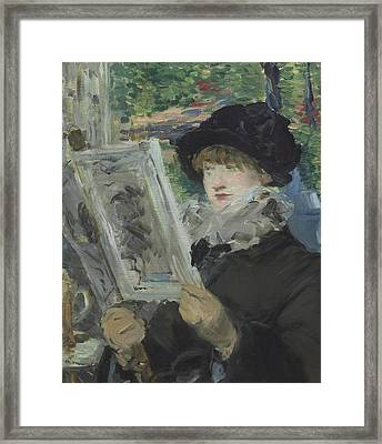 Woman Reading Framed Print by Edouard Manet