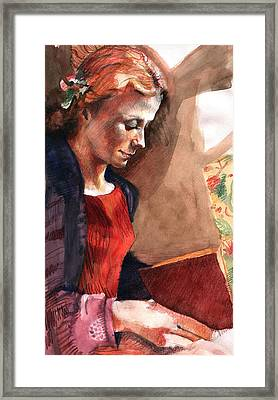 Woman Reading Framed Print by Ellen Dreibelbis