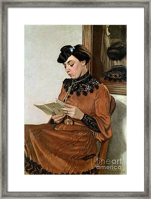 Woman Reading Framed Print by Felix Edouard Vallotton