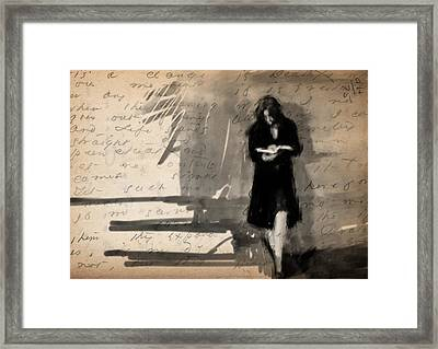 Woman Reading Framed Print by H James Hoff
