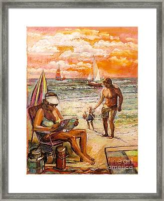 Woman Reading On The Beach Framed Print by Stan Esson
