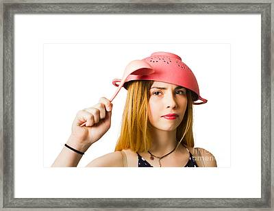Woman Ready For Cooking Action Framed Print