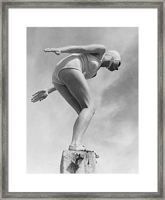 Woman Ready To Dive Framed Print by Underwood Archives