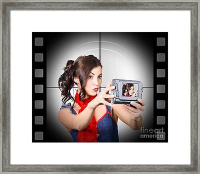 Woman Recording A Movie Using Video Camera Framed Print by Jorgo Photography - Wall Art Gallery