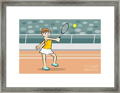 Woman Rejects Tennis Ball With Her Racket Framed Print