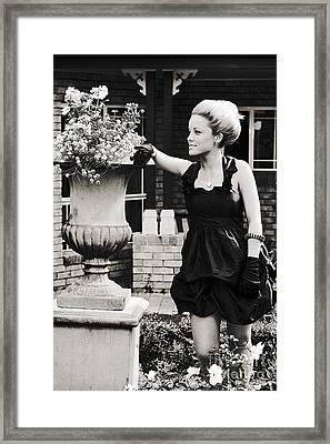 Woman Relaxing In Garden Framed Print by Jorgo Photography - Wall Art Gallery