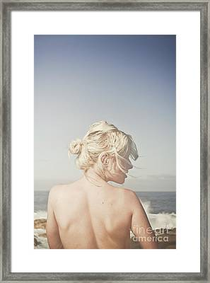 Woman Relaxing On The Beach Framed Print