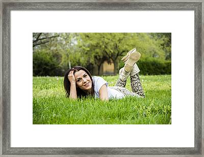 Woman Relaxing On The Grass In Springtime Framed Print by Newnow Photography By Vera Cepic