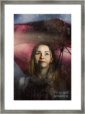Woman Resilient In Storm Through Positive Thinking Framed Print