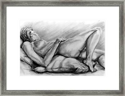 Woman Resting Framed Print by John Clum