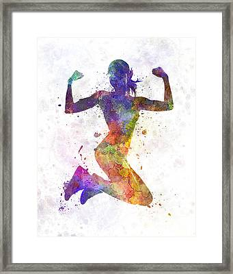 Woman Runner Jogger Jumping Powerful Framed Print by Pablo Romero