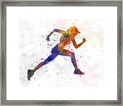 Woman Runner Jogger Running Framed Print