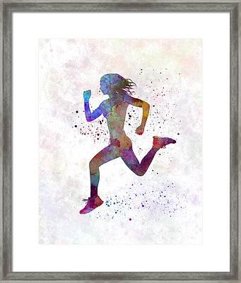 Woman Runner Running Jogger Jogging Silhouette 01 Framed Print by Pablo Romero