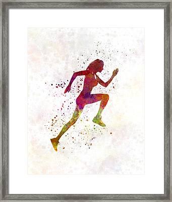 Woman Runner Running Jogger Jogging Silhouette 02 Framed Print by Pablo Romero