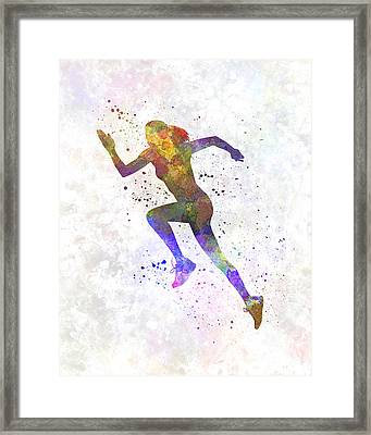 Woman Runner Running Jogger Jogging Silhouette 03 Framed Print by Pablo Romero