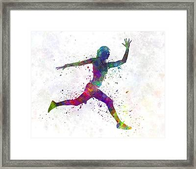 Woman Runner Running Jumping Framed Print