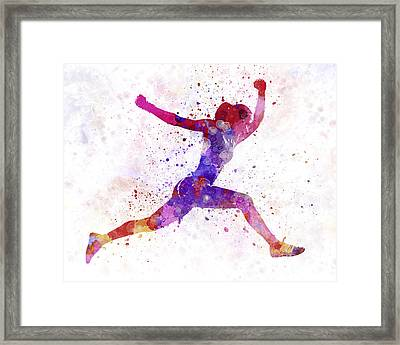 Woman Runner Running Jumping Shouting Framed Print